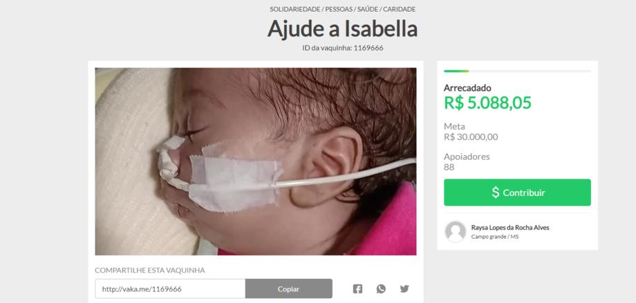 Isabella Alves de apenas dois meses precisa passar por uma cirurgia onde os aparelhos necessárioa custam 30 mil