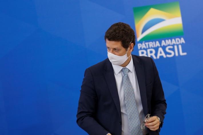 O ministro do Meio Ambiente, Ricardo Salles, durante coletiva de imprensa no Palácio do Planalto