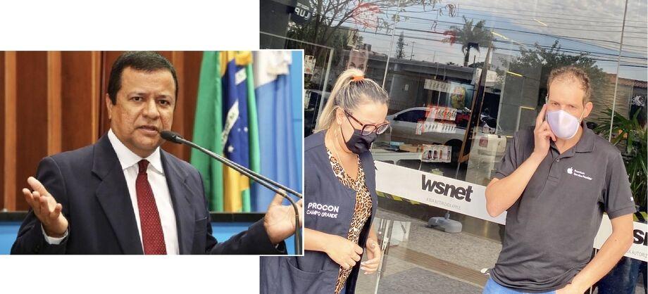 Amarildo Cruz, do fisco estadual, diz que exigir e-mail do consumidor sob condicionante é um verdadeiro abuso; Responsável pela WSNet, autorizada da Apple Brasil, Jonathan Silveira, no momento da autuação pelos fiscais do Procon.