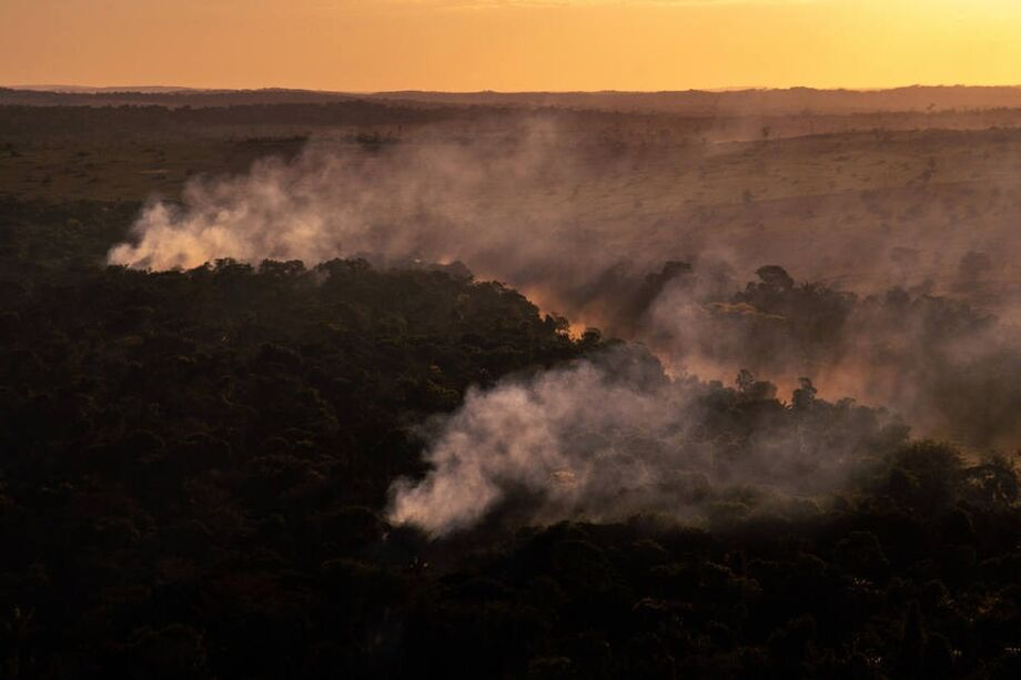 Fogo detectado na região de Alta Floresta, no Mato Grosso, no dia 9 de julho, onde recentemente havia ocorrido um desmatamento, de acordo com dados do Deter / Inpe