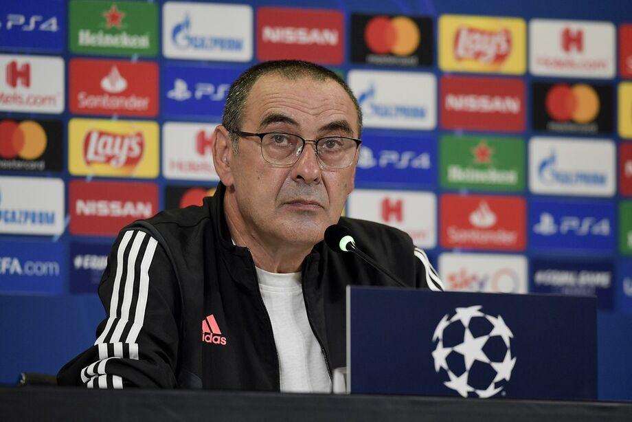 Maurizio Sarri, técnico da Juventus, em entrevista coletiva nesta quinta-feira
