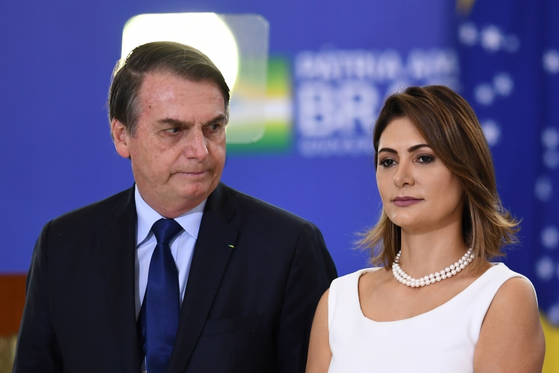 Presidente Jair Bolsonaro e Primeira Dama Michele Bolsonaro
