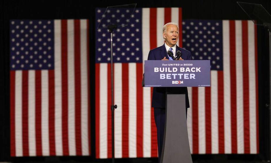 O candidato democrata à presidência dos EUA, Joe Biden, em campanha em Wilmington, Delaware