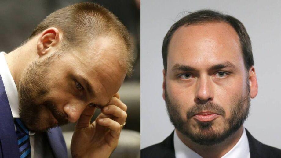 O deputado federal Eduardo Bolsonaro (PSL-SP) e o vereador Carlos Bolsonaro (Republicanos-RJ)