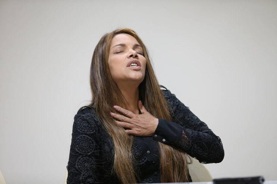 A deputada dederal Flordelis dos Santos (PSD-RJ) em coletiva de imprensa sobre o assassinato do marido