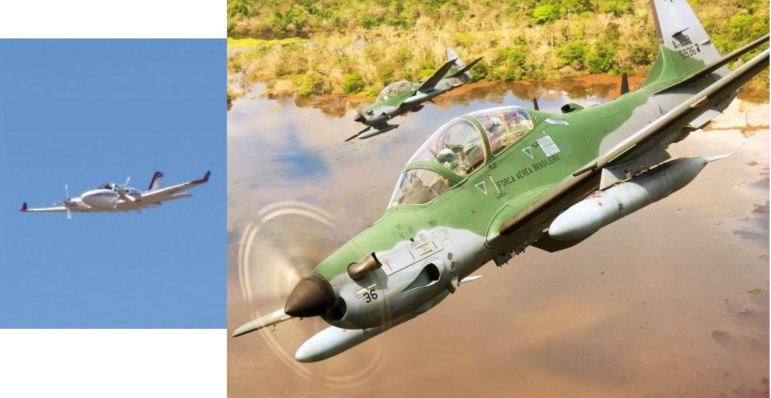 Aviões de caça A 29 o Super Tucano do Esquadrão Flecha da Força Aérea Brasileira teriam interceptado na manhã deste domingo (2) uma aeronave que não tinha informado seu plano de voo e a suspeita é de que estivesse transportando entorpecente.